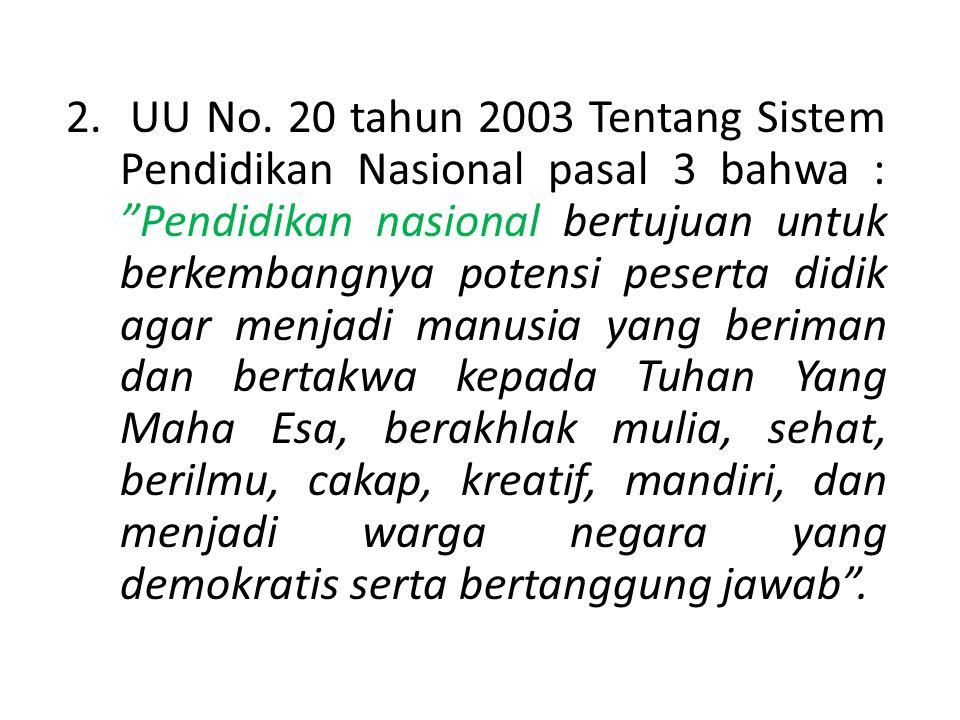 DASAR YURIDIS PA 1.UUD 1945 Bab XIII Pasal 31 a.l. butir (3) yaitu bahwa Pemerintah mengusahakan dan menyelenggarakan satu sistem pendidikan nasional,