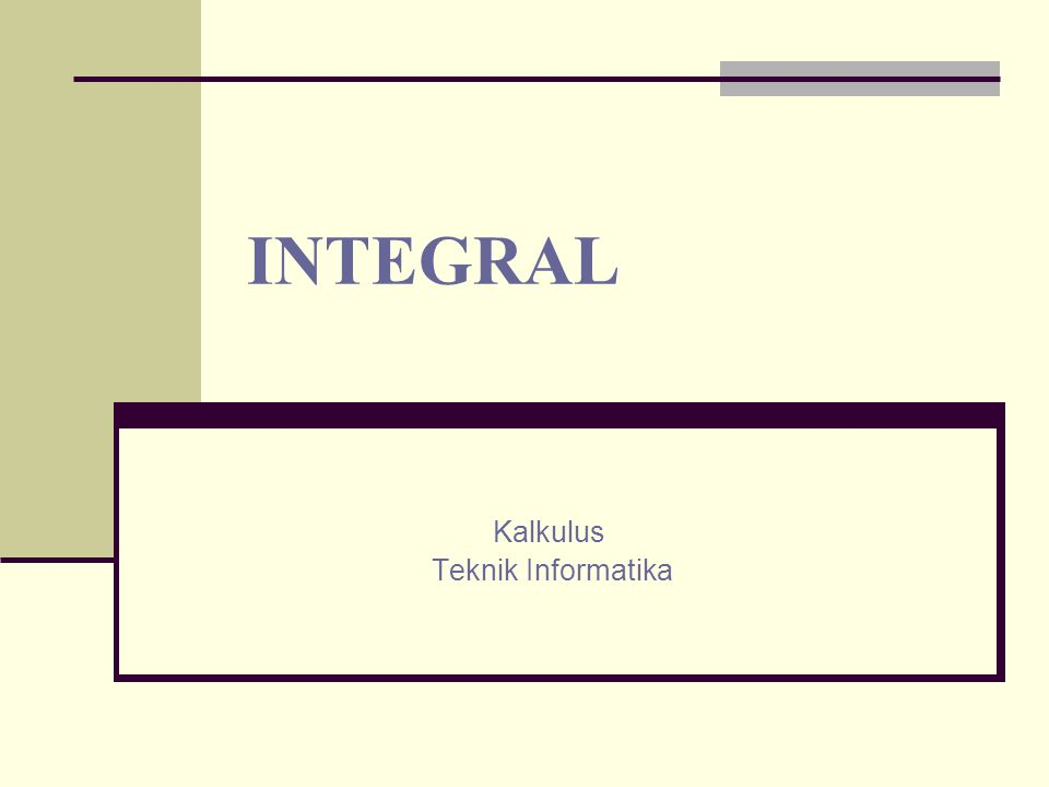 Sifat-sifat Integral Tentu INTEGRAL
