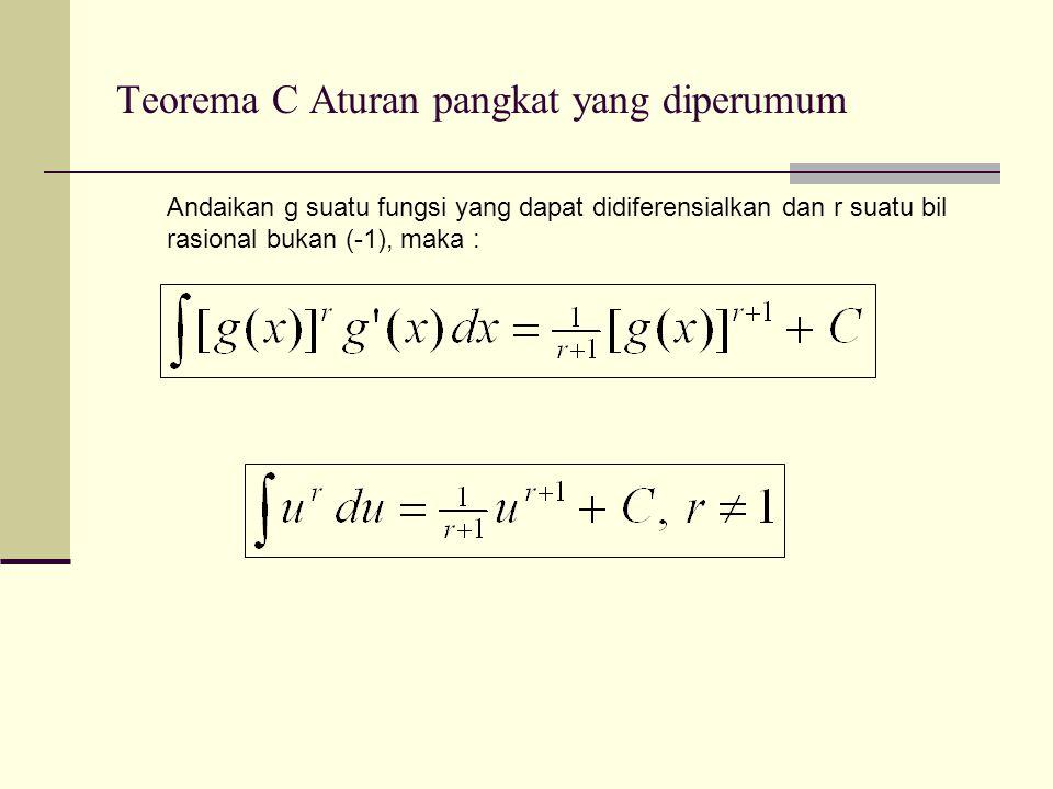 Teorema C Aturan pangkat yang diperumum Andaikan g suatu fungsi yang dapat didiferensialkan dan r suatu bil rasional bukan (-1), maka :