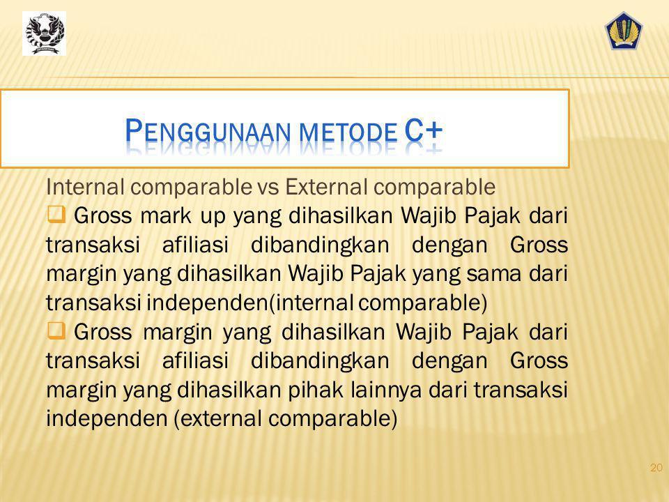  Metode Biaya Plus adalah metode yang membandingkan gross mark-up pada transaksi afiliasi dengan transaksi independent.