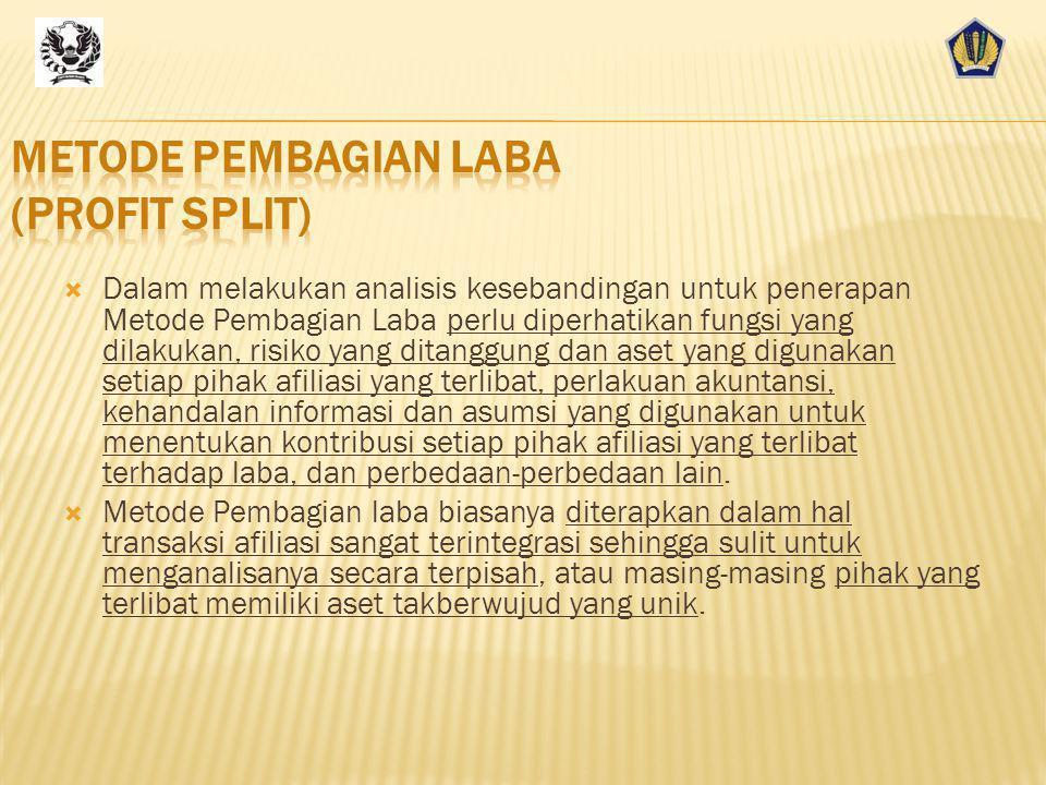  Metode Pembagian Laba adalah Metode penetapan Harga Transfer yang membagi laba gabungan kepada pihak afiliasi yang terlibat dalam transaksi afiliasi berdasarkan kontribusi yang diberikan.