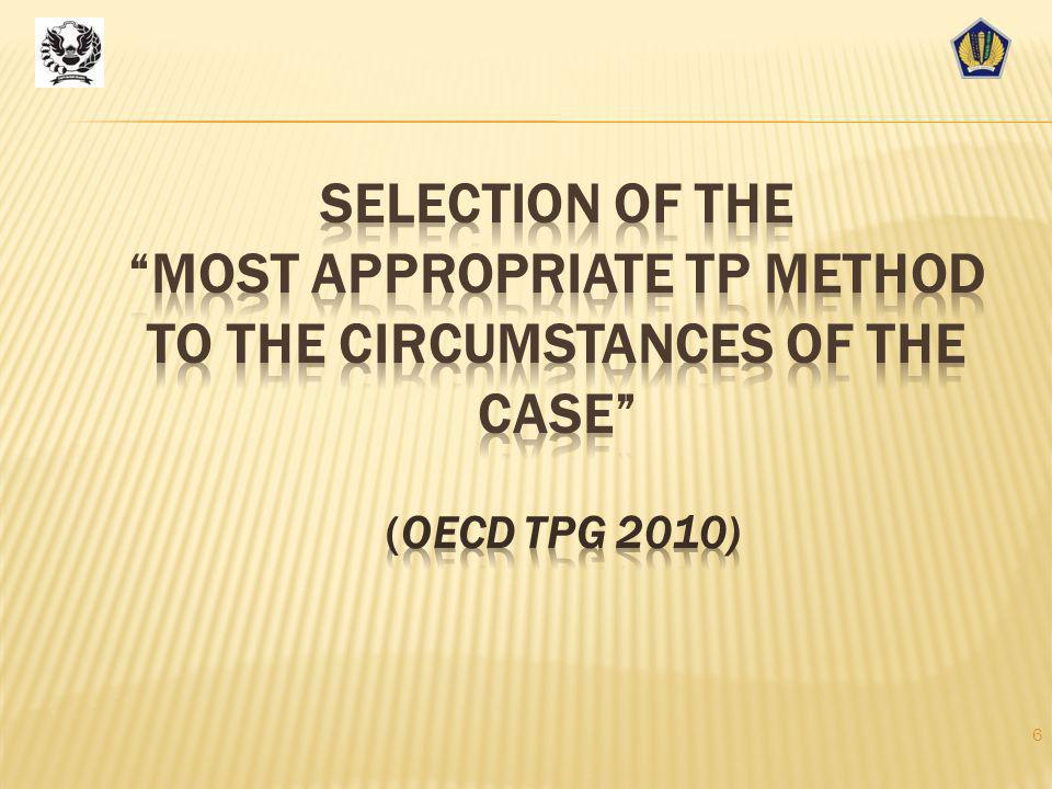 "1995 TP Guidelines:  Strict preference for traditional methods (Comparable Uncontrolled Price ""CUP"", Cost Plus, Resale Price);  Use of profit method"