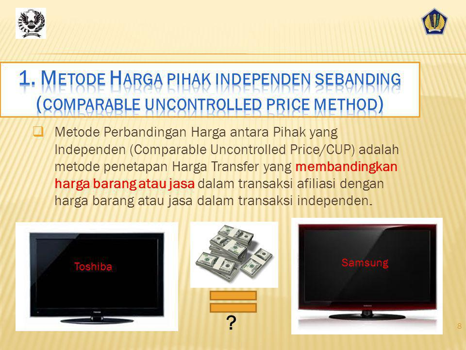 TP MethodRequired Comparability Benchmark ProductFunctions (CUP)+++ Price Resale Price (RP)++++ Gross Profit Margin Cost Plus (C+)++++Gross Mark-Up Tr