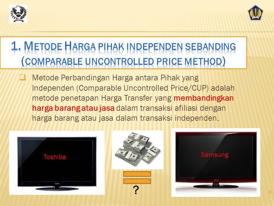 Metode Perbandingan Harga antara Pihak yang Independen (Comparable Uncontrolled Price/CUP) adalah metode penetapan Harga Transfer yang membandingkan harga barang atau jasa dalam transaksi afiliasi dengan harga barang atau jasa dalam transaksi independen.