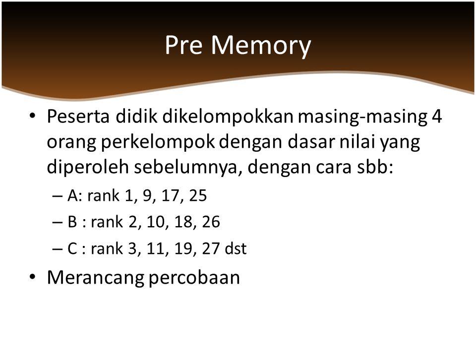 Pre Memory Peserta didik dikelompokkan masing-masing 4 orang perkelompok dengan dasar nilai yang diperoleh sebelumnya, dengan cara sbb: – A: rank 1, 9