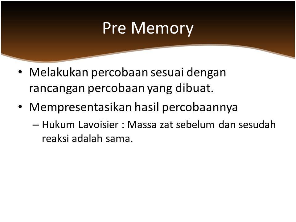 Pre Memory Melakukan percobaan sesuai dengan rancangan percobaan yang dibuat. Mempresentasikan hasil percobaannya – Hukum Lavoisier : Massa zat sebelu