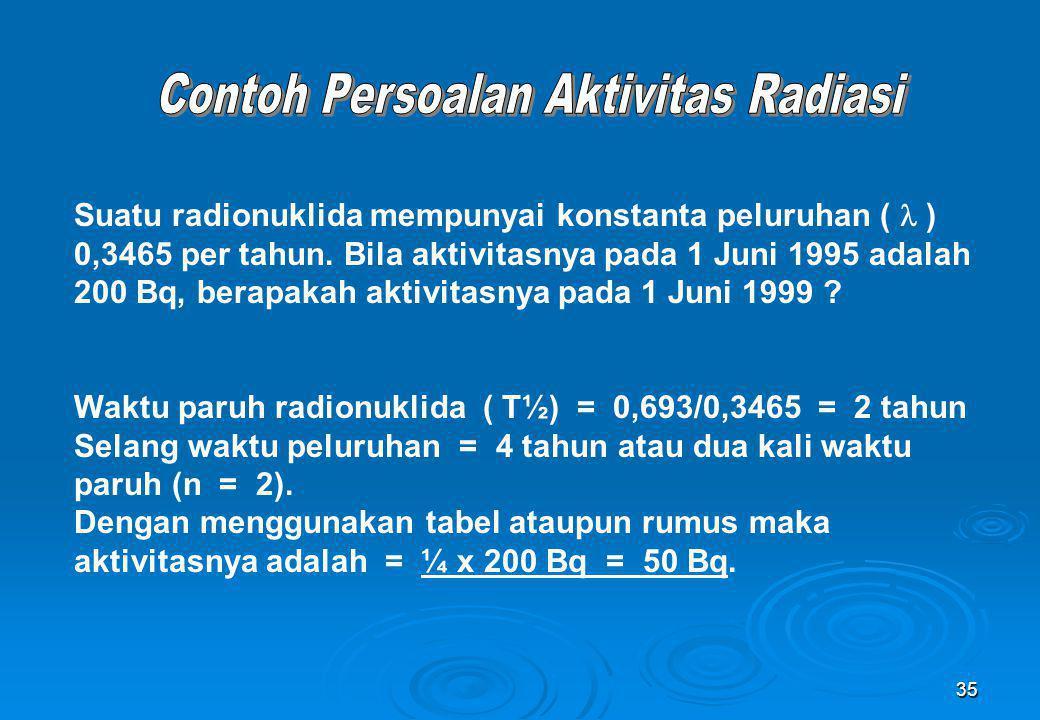 35 Suatu radionuklida mempunyai konstanta peluruhan ( ) 0,3465 per tahun. Bila aktivitasnya pada 1 Juni 1995 adalah 200 Bq, berapakah aktivitasnya pad