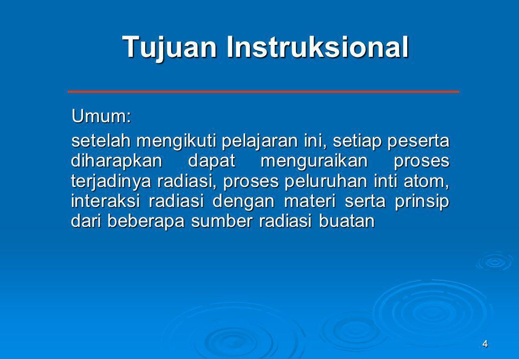 4 Tujuan Instruksional Umum: setelah mengikuti pelajaran ini, setiap peserta diharapkan dapat menguraikan proses terjadinya radiasi, proses peluruhan
