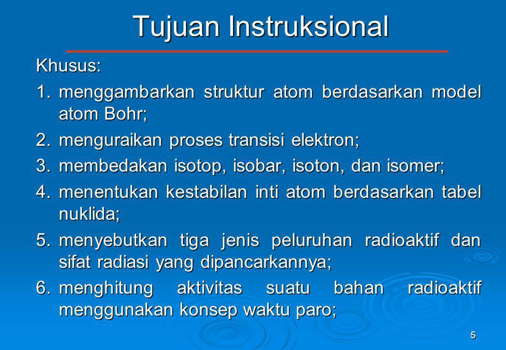 5 Tujuan Instruksional Khusus: 1.menggambarkan struktur atom berdasarkan model atom Bohr; 2.menguraikan proses transisi elektron; 3.membedakan isotop,
