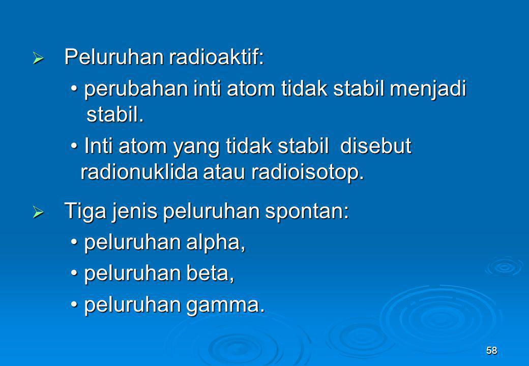 58  Peluruhan radioaktif: perubahan inti atom tidak stabil menjadi stabil. perubahan inti atom tidak stabil menjadi stabil. Inti atom yang tidak stab