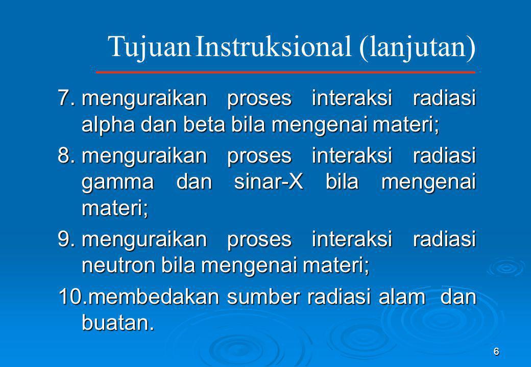 6 7.menguraikan proses interaksi radiasi alpha dan beta bila mengenai materi; 8.menguraikan proses interaksi radiasi gamma dan sinar-X bila mengenai m