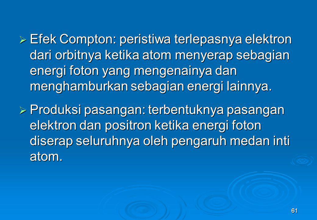 61  Efek Compton: peristiwa terlepasnya elektron dari orbitnya ketika atom menyerap sebagian energi foton yang mengenainya dan menghamburkan sebagian