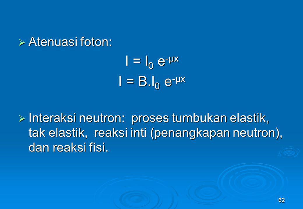 62  Atenuasi foton: I = I 0 e -μx I = B.I 0 e -μx  Interaksi neutron: proses tumbukan elastik, tak elastik, reaksi inti (penangkapan neutron), dan r