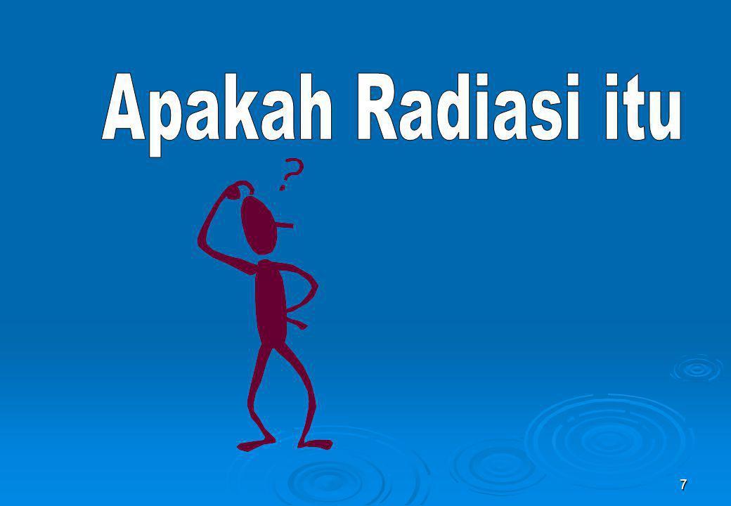 38  Radiasi Partikel Bermuatan: alpha; beta; proton; elektron.