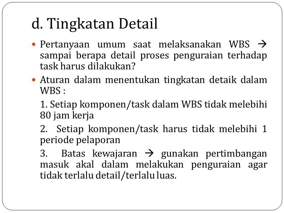 d. Tingkatan Detail Pertanyaan umum saat melaksanakan WBS  sampai berapa detail proses penguraian terhadap task harus dilakukan? Aturan dalam menentu