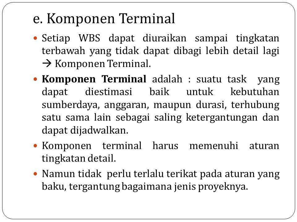 e. Komponen Terminal Setiap WBS dapat diuraikan sampai tingkatan terbawah yang tidak dapat dibagi lebih detail lagi  Komponen Terminal. Komponen Term