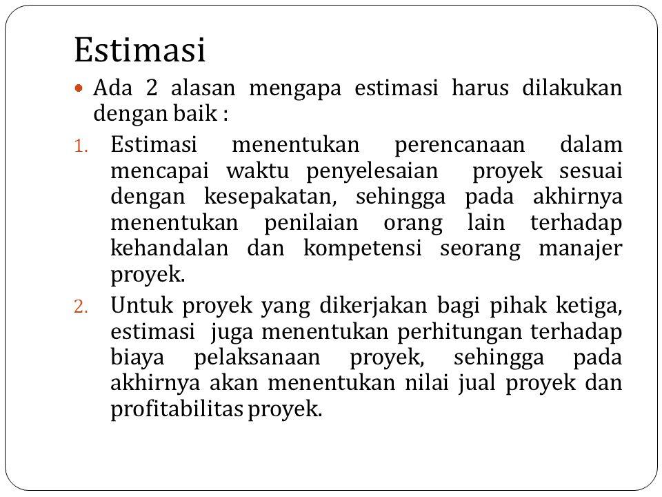 Estimasi Ada 2 alasan mengapa estimasi harus dilakukan dengan baik : 1. Estimasi menentukan perencanaan dalam mencapai waktu penyelesaian proyek sesua