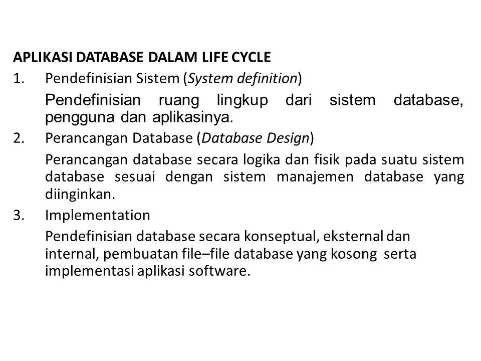 APLIKASI DATABASE DALAM LIFE CYCLE 1.Pendefinisian Sistem (System definition) Pendefinisian ruang lingkup dari sistem database, pengguna dan aplikasinya.