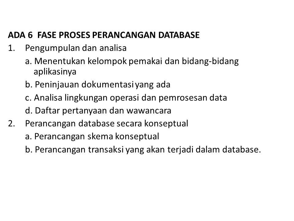 ADA 6 FASE PROSES PERANCANGAN DATABASE 1.Pengumpulan dan analisa a.