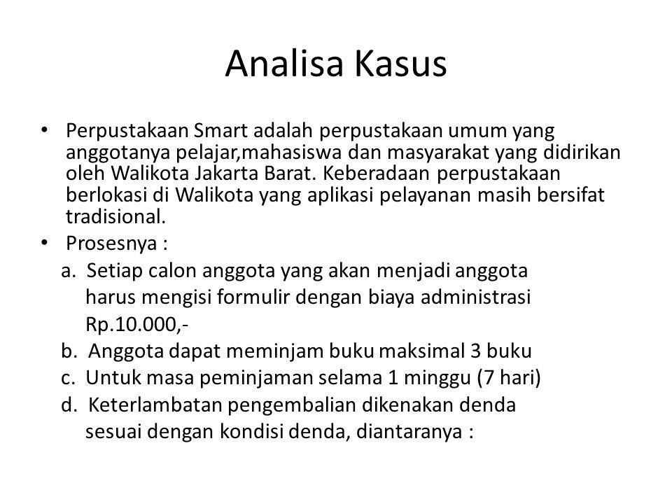 Analisa Kasus Perpustakaan Smart adalah perpustakaan umum yang anggotanya pelajar,mahasiswa dan masyarakat yang didirikan oleh Walikota Jakarta Barat.