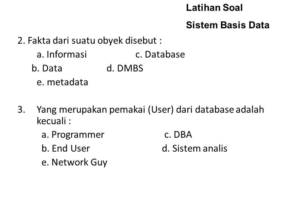 Latihan Soal Sistem Basis Data 2.Fakta dari suatu obyek disebut : a.