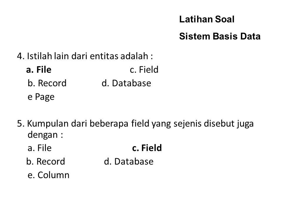 Latihan Soal Sistem Basis Data 4.Istilah lain dari entitas adalah : a.
