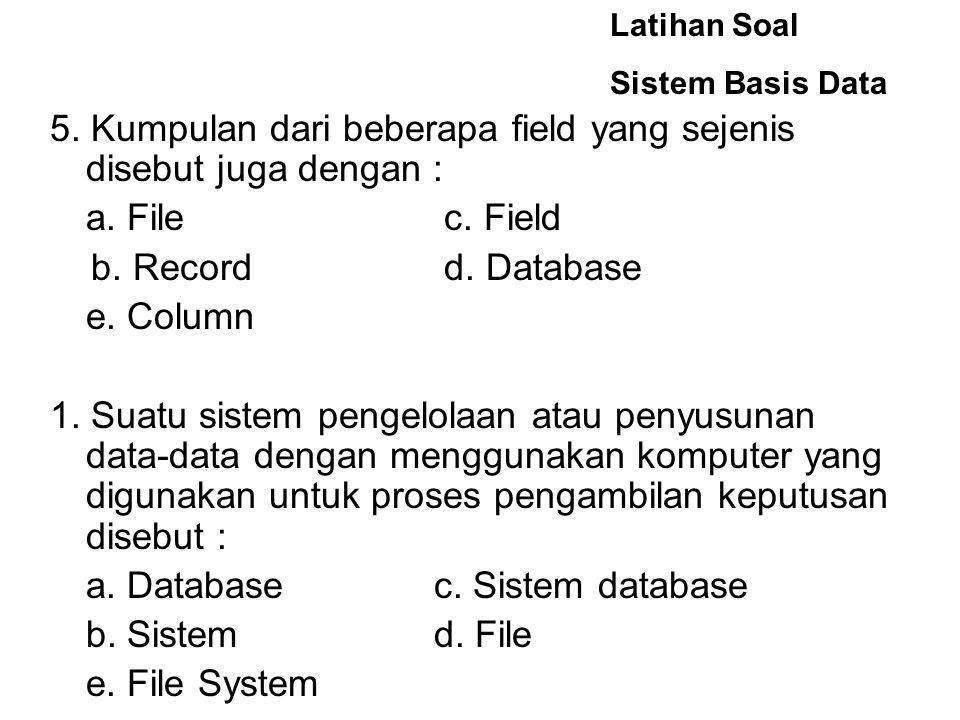 Latihan Soal Sistem Basis Data 5.