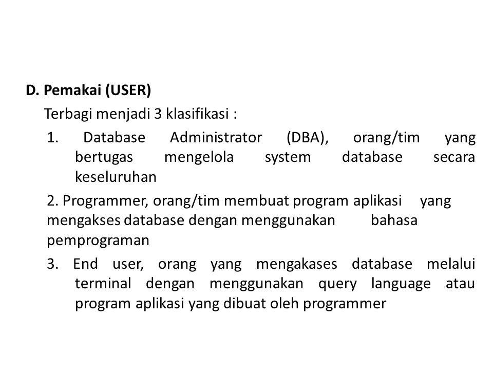 D.Pemakai (USER) Terbagi menjadi 3 klasifikasi : 1.