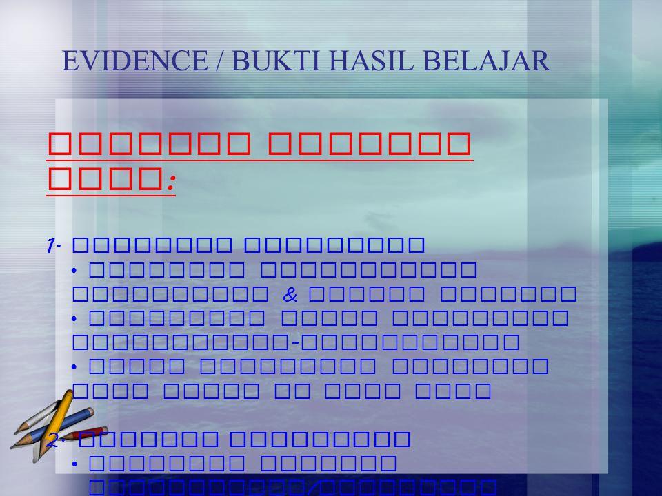 EVIDENCE / BUKTI HASIL BELAJAR ASESMEN terdiri dari : 1. FORMATIF ASSESMENT Mengukur keefektifan pengajaran & proses belajar Ditujukan untuk melakukan