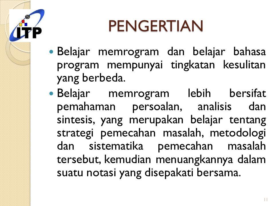 PENGERTIAN Belajar memrogram dan belajar bahasa program mempunyai tingkatan kesulitan yang berbeda. Belajar memrogram lebih bersifat pemahaman persoal