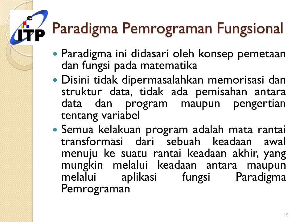 Paradigma Pemrograman Fungsional Paradigma ini didasari oleh konsep pemetaan dan fungsi pada matematika Disini tidak dipermasalahkan memorisasi dan st
