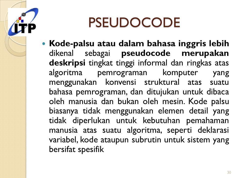 PSEUDOCODE Kode-palsu atau dalam bahasa inggris lebih dikenal sebagai pseudocode merupakan deskripsi tingkat tinggi informal dan ringkas atas algoritm