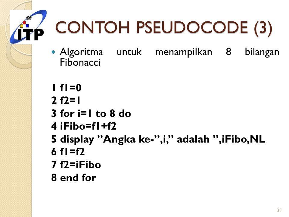 "CONTOH PSEUDOCODE (3) Algoritma untuk menampilkan 8 bilangan Fibonacci 1 f1=0 2 f2=1 3 for i=1 to 8 do 4 iFibo=f1+f2 5 display ""Angka ke-"",i,"" adalah"