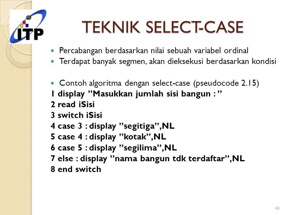 TEKNIK SELECT-CASE Percabangan berdasarkan nilai sebuah variabel ordinal Terdapat banyak segmen, akan dieksekusi berdasarkan kondisi Contoh algoritma