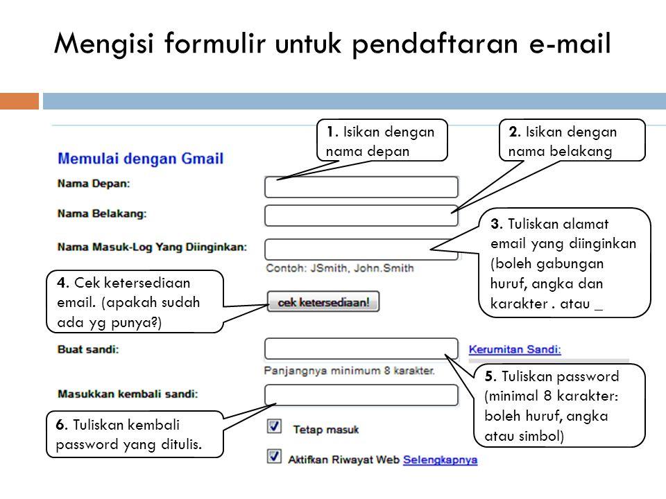 Membuat e-mail di gmail.com  Buka google.com dan pilih menu gmail.  Ganti bahasa menjadi bahasa Indonesia. (ada di pojok kanan bawah)  Klik Buat Ak