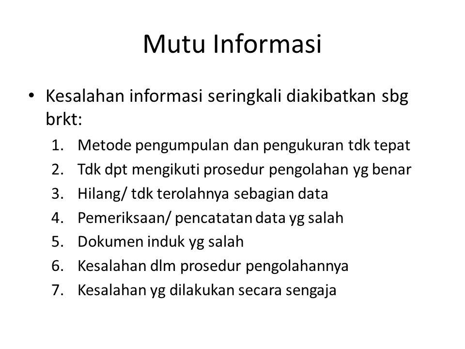 Mutu Informasi Kesalahan informasi seringkali diakibatkan sbg brkt: 1.Metode pengumpulan dan pengukuran tdk tepat 2.Tdk dpt mengikuti prosedur pengola