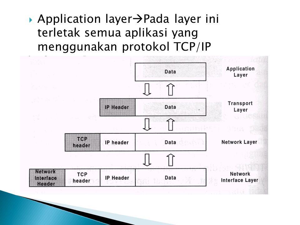  Application layer  Pada layer ini terletak semua aplikasi yang menggunakan protokol TCP/IP