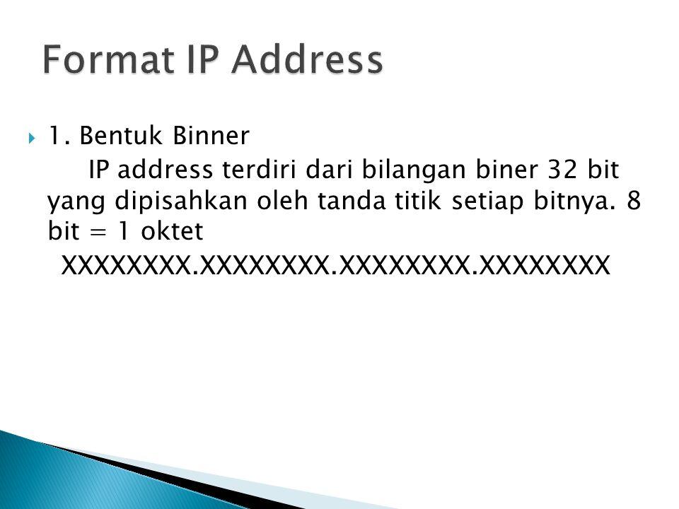  1. Bentuk Binner IP address terdiri dari bilangan biner 32 bit yang dipisahkan oleh tanda titik setiap bitnya. 8 bit = 1 oktet XXXXXXXX.XXXXXXXX.XXX