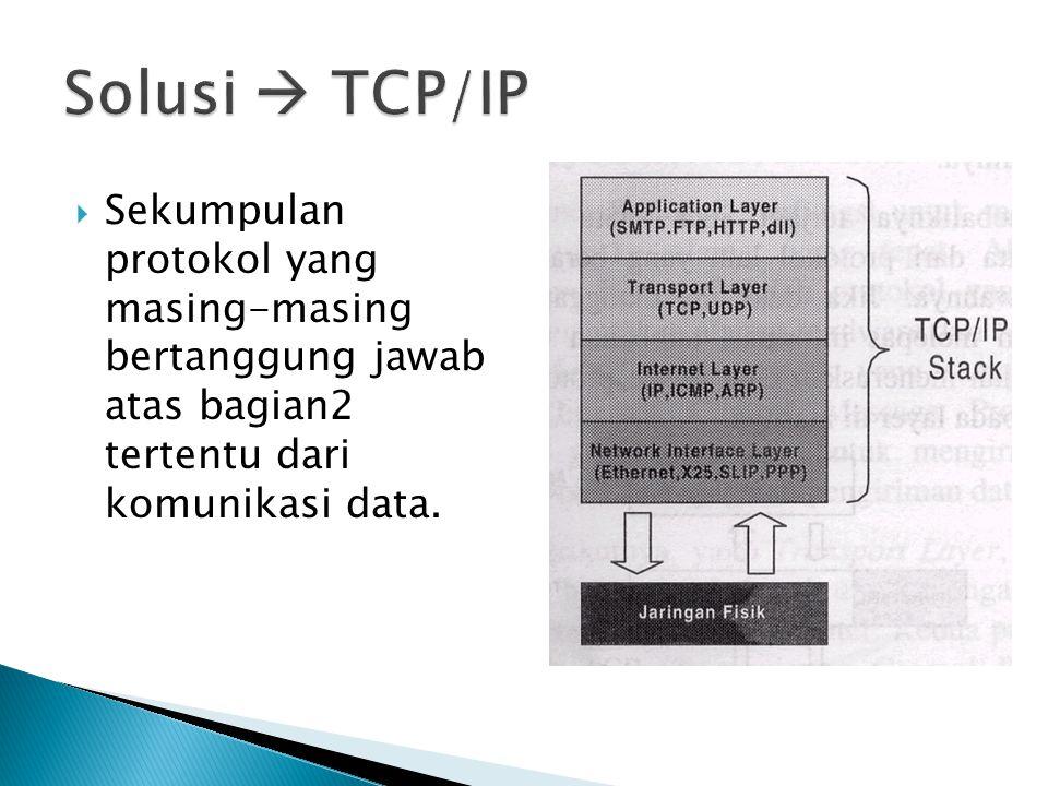  Sekumpulan protokol yang masing-masing bertanggung jawab atas bagian2 tertentu dari komunikasi data.