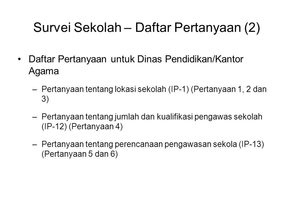 Survei Sekolah – Daftar Pertanyaan (2) Daftar Pertanyaan untuk Dinas Pendidikan/Kantor Agama –Pertanyaan tentang lokasi sekolah (IP-1) (Pertanyaan 1,