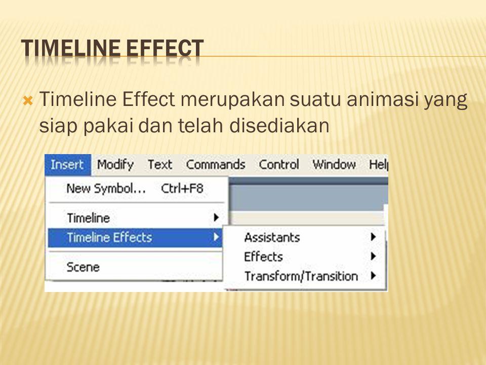  Timeline Effect merupakan suatu animasi yang siap pakai dan telah disediakan