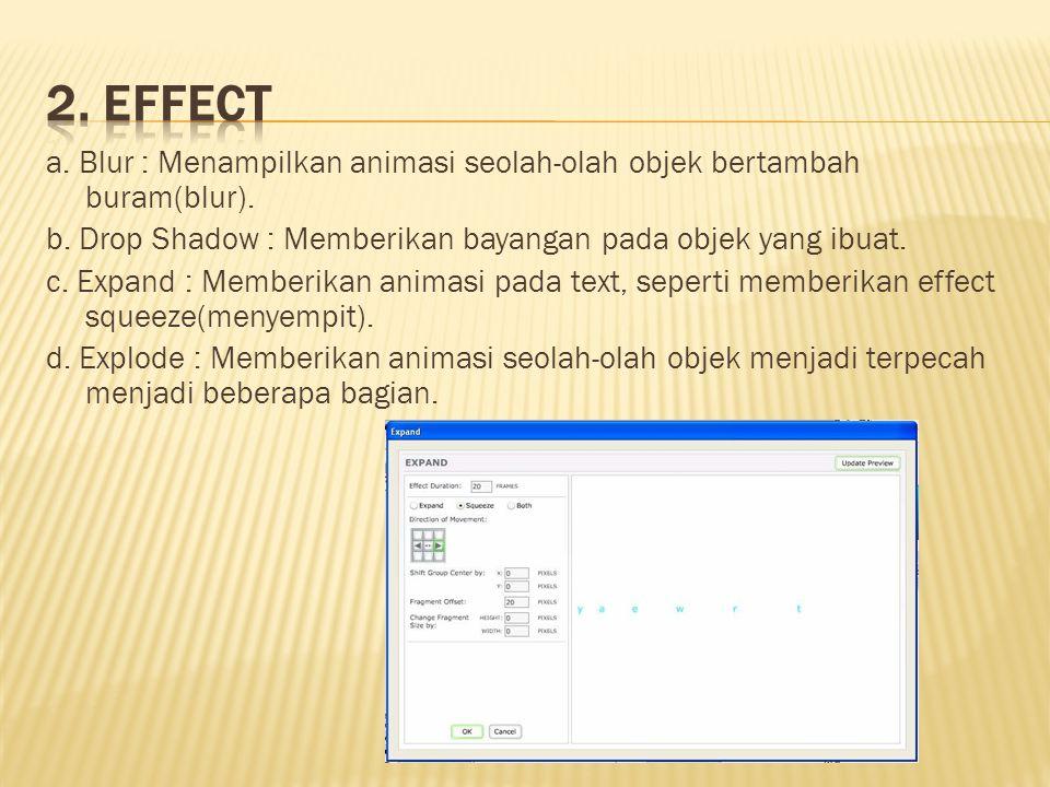 a. Blur : Menampilkan animasi seolah-olah objek bertambah buram(blur). b. Drop Shadow : Memberikan bayangan pada objek yang ibuat. c. Expand : Memberi