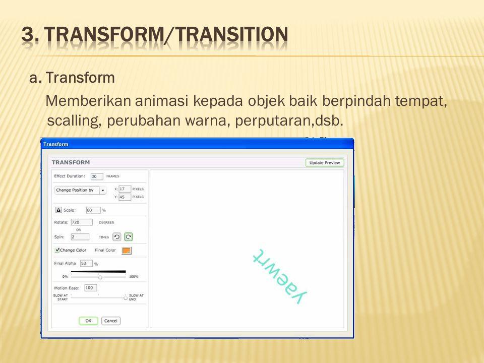 a. Transform Memberikan animasi kepada objek baik berpindah tempat, scalling, perubahan warna, perputaran,dsb.