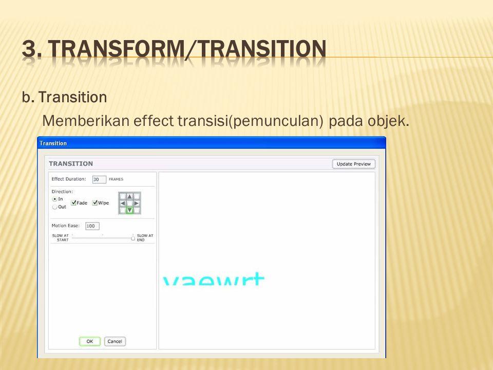 b. Transition Memberikan effect transisi(pemunculan) pada objek.