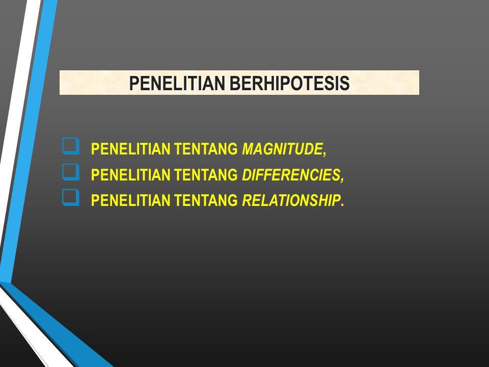 PENELITIAN BERHIPOTESIS  PENELITIAN TENTANG MAGNITUDE,  PENELITIAN TENTANG DIFFERENCIES,  PENELITIAN TENTANG RELATIONSHIP.