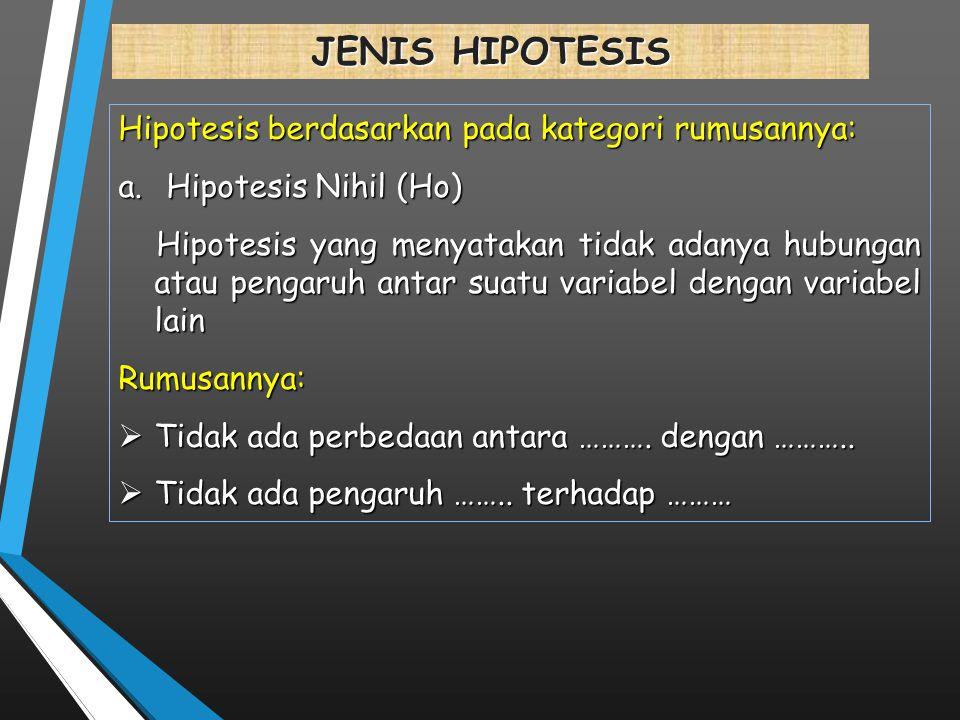 JENIS HIPOTESIS Hipotesis berdasarkan pada kategori rumusannya: a.Hipotesis Nihil (Ho) Hipotesis yang menyatakan tidak adanya hubungan atau pengaruh a