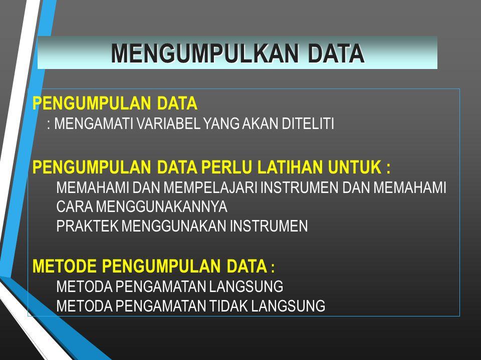 MENGUMPULKAN DATA PENGUMPULAN DATA : MENGAMATI VARIABEL YANG AKAN DITELITI PENGUMPULAN DATA PERLU LATIHAN UNTUK : MEMAHAMI DAN MEMPELAJARI INSTRUMEN D