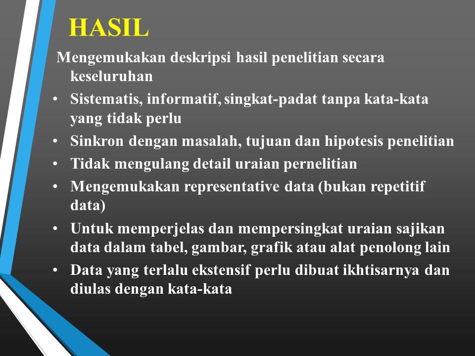 HASIL Mengemukakan deskripsi hasil penelitian secara keseluruhan Sistematis, informatif, singkat-padat tanpa kata-kata yang tidak perlu Sinkron dengan