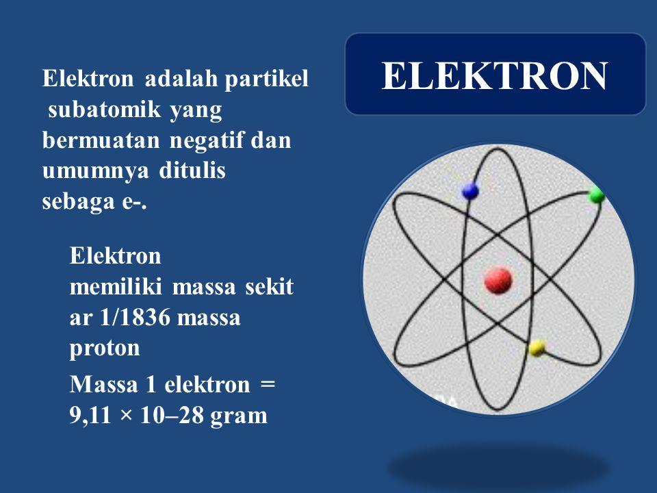 Elektron adalah partikel subatomik yang bermuatan negatif dan umumnya ditulis sebaga e-.