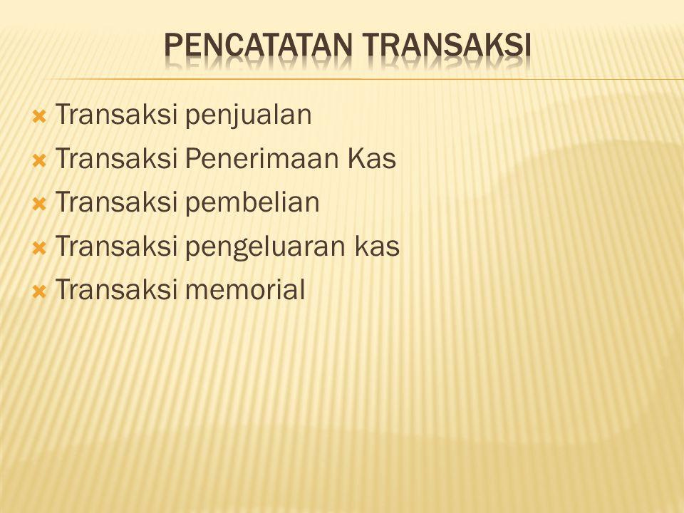  Transaksi penjualan  Transaksi Penerimaan Kas  Transaksi pembelian  Transaksi pengeluaran kas  Transaksi memorial